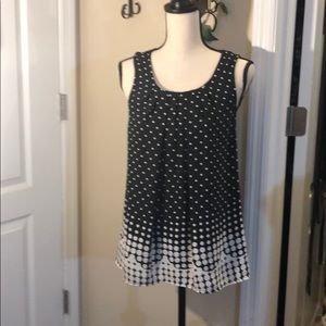 Black top with white polka dots